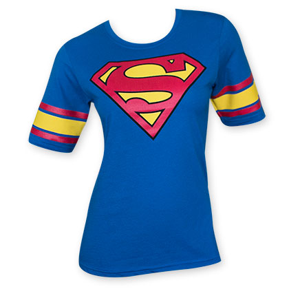 Superman Women's Blue Hockey Style Logo Tee Shirt