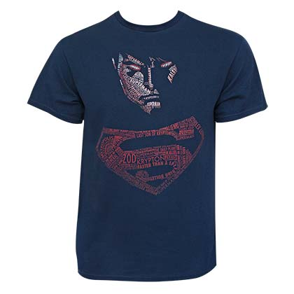 Superman Men's Navy Blue Posterized Typography T-Shirt