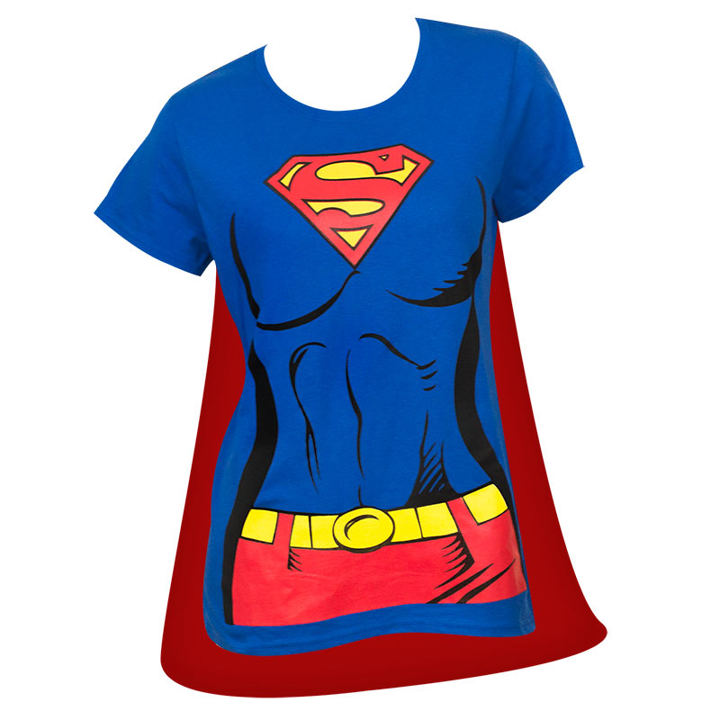 superman supergirl women 39 s blue caped costume t shirt superheroden. Black Bedroom Furniture Sets. Home Design Ideas