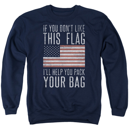 Patriotic Pack Your Bag Navy Blue Crewneck Sweatshirt