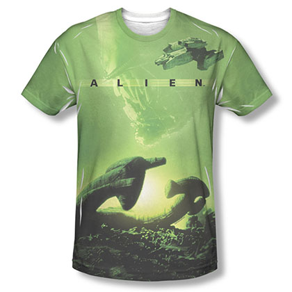 Alien Ship Green Sublimation T-Shirt