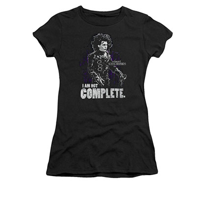 Edward Scissorhands Juniors Black Not Complete Tee Shirt