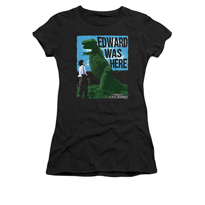 Edward Scissorhands Black Juniors Was Here Tee Shirt