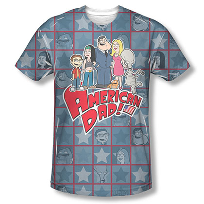 American Dad Family Blue Sublimation T-Shirt
