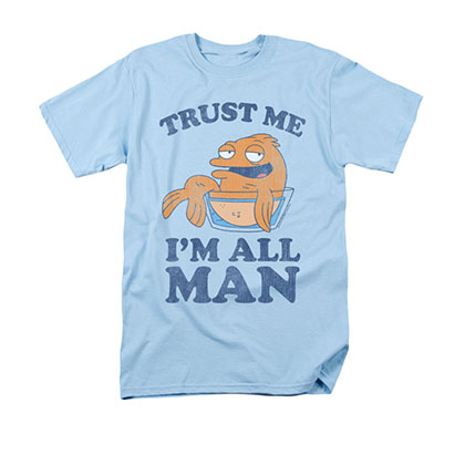 American Dad Men's Blue I'm All Man Tee Shirt
