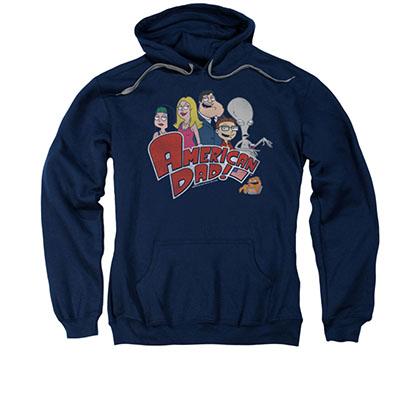 American Dad Logo Blue Pullover Hoodie