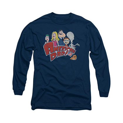 American Dad Family Logo Blue Long Sleeve T-Shirt