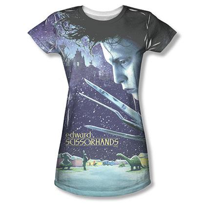 Edward Scissorhands Juniors Home Poster Sublimation Tee Shirt