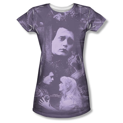 Edward Scissorhands Juniors Purple Story Sublimation Tee Shirt