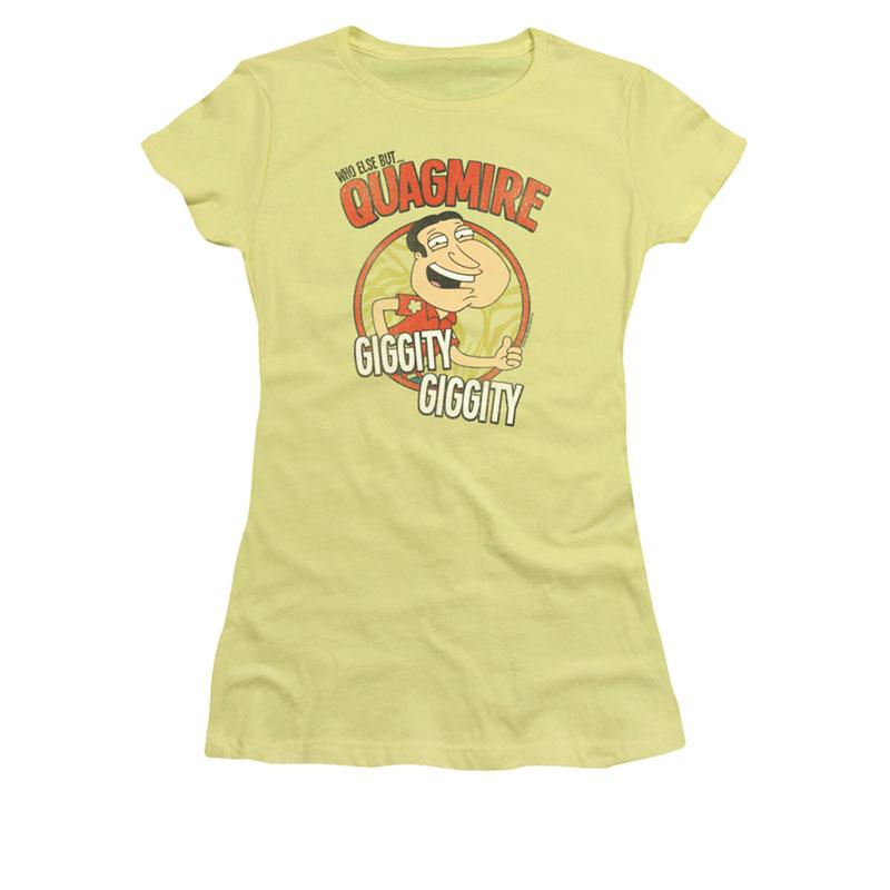Family guy juniors yellow giggity quagmire tee shirt for Family guy t shirts amazon