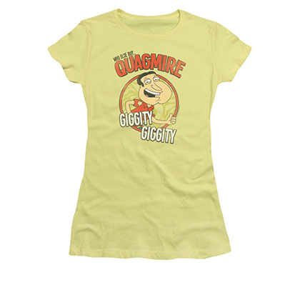 Family Guy Juniors Yellow Giggity Quagmire Tee Shirt
