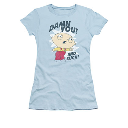 Family Guy Juniors Blue Damn You Stewie Tee Shirt