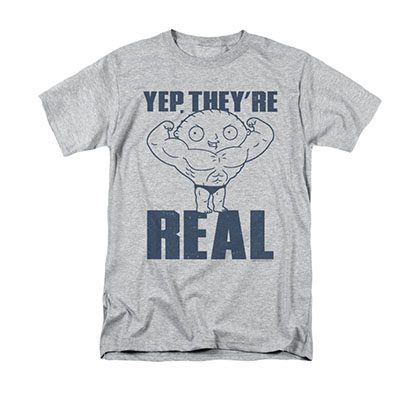 Family Guy Men's Gray Stewie Yep They're Real Tee Shirt
