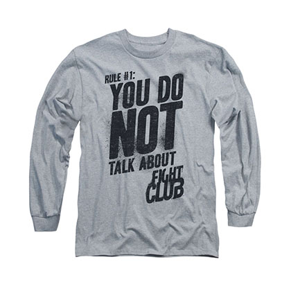 Fight Club Rule 1 Gray Long Sleeve T-Shirt