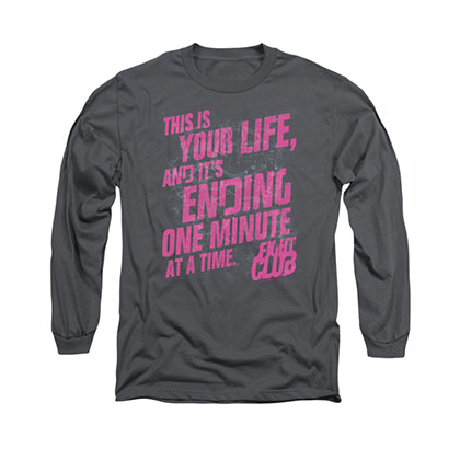 Fight Club Life Ending Gray Long Sleeve T-Shirt