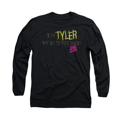 Fight Club In Tyler We Trust Black Long Sleeve T-Shirt