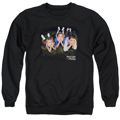 Malcolm In The Middle Kids Logo Black Crew Neck Sweatshirt