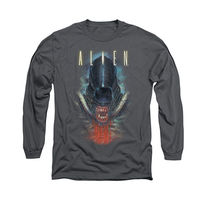 Alien Bloody Jaw Gray Long Sleeve T-Shirt