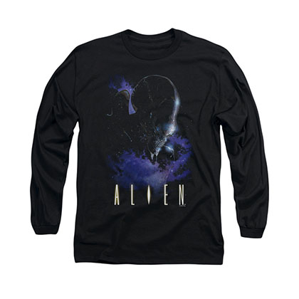 Alien In Space Black Long Sleeve T-Shirt