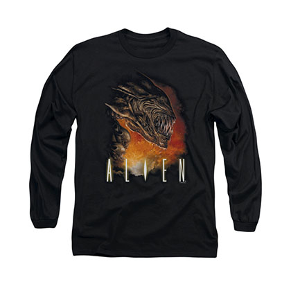 Alien Fangs Black Long Sleeve T-Shirt