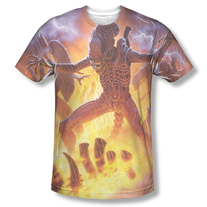 Alien Lightning And Fire Sublimation T-Shirt