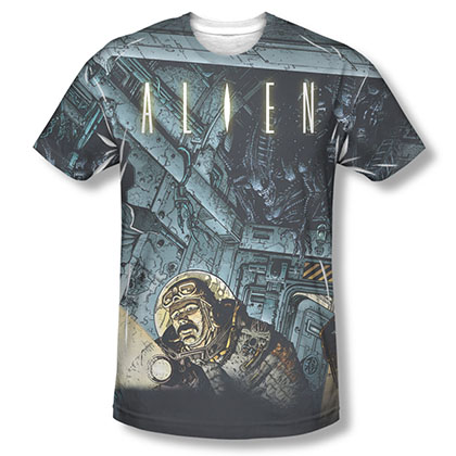 Alien Lurking Comic Sublimation T-Shirt