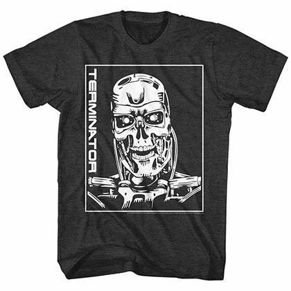 Terminator Machine Skull Black Tee Shirt