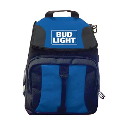 Bud Light Blue Beer Can Cooler Backpack