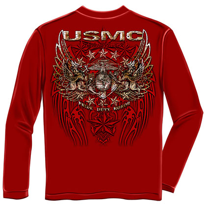 USMC Marines Pride Duty Honor Red Long Sleeve T-Shirt