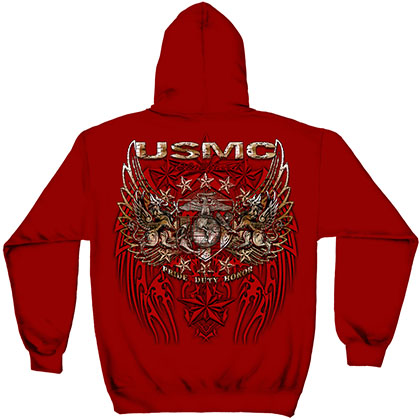 USMC Marines Pride Duty Honor Red Hoodie