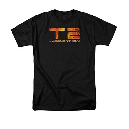 The Terminator 2 Fire Logo Black T-Shirt