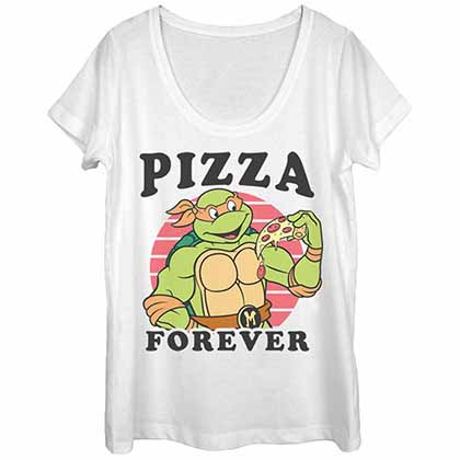 Teenage Mutant Ninja Turtles Pizza Forevs White Juniors T-Shirt
