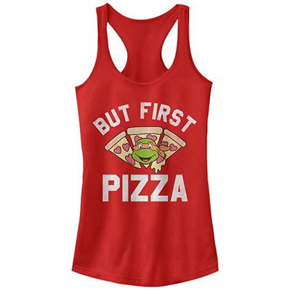 Teenage Mutant Ninja Turtles Pizza First Red Juniors Tank Top