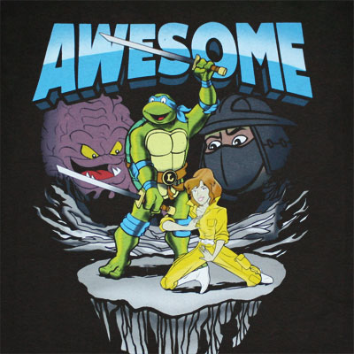 Teenage Mutant Ninja Turtles Awesome Black Graphic Tee Shirt