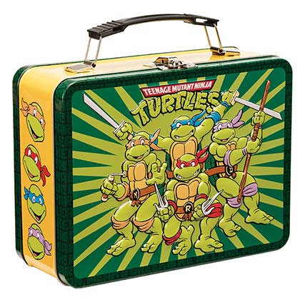 TMNT Green Metal Heroes In A Half Shell Lunch Box