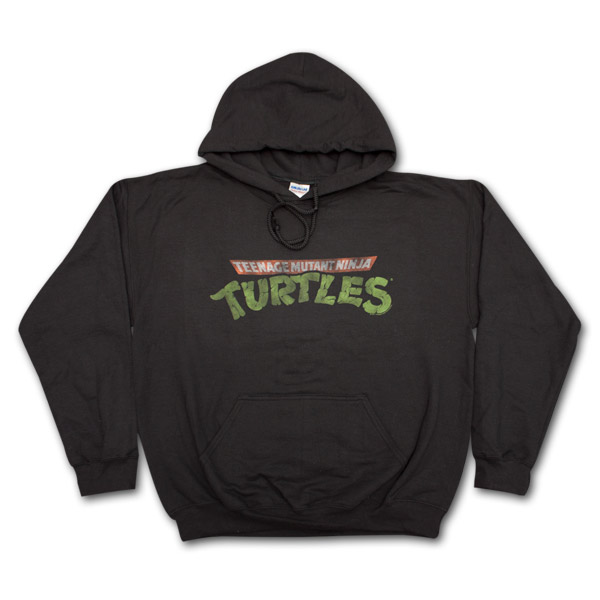 Teenage Mutant Ninja Turtles Faded Logo Black Graphic Hoodie Pullover