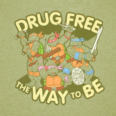 Teenage Mutant Ninja Turtles Drug Free Green Graphic Tee Shirt