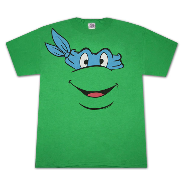 Teenage Mutant Ninja Turtles Leonardo Face Green Graphic Tee Shirt