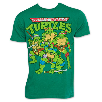 Teenage Mutant Ninja Turtles Green Men's Group Logo Tee Shirt
