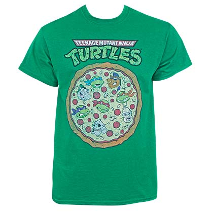Teenage Mutant Ninja Turtles Men's Distressed Pizza Green T-Shirt