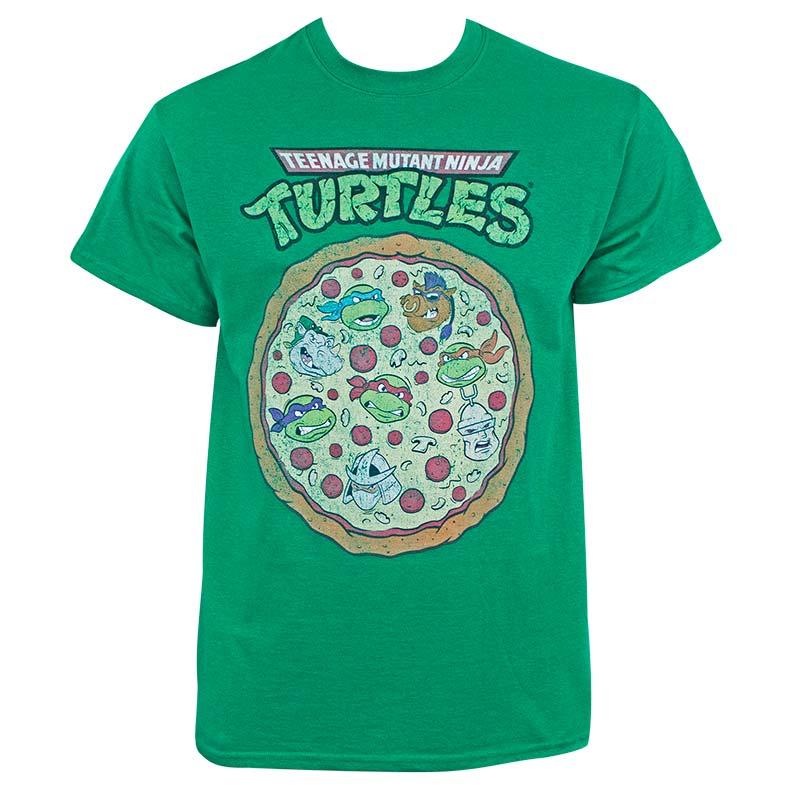 Teenage Mutant Ninja Turtles Men's Distressed Pizza Green T-Shirt