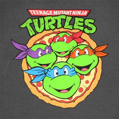 Teenage Mutant Ninja Turtles Pizza Logo Gray Graphic Tee Shirt