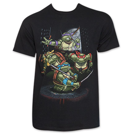 TMNT Black Men's Mean Mug Group Shot Tee Shirt