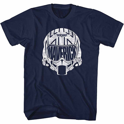 Top Gun White Mav Helmet Blue Tee Shirt