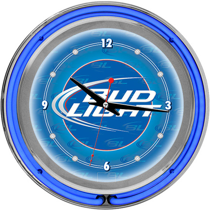 Bud Light Neon Wall Clock FREE SHIPPING - Blue