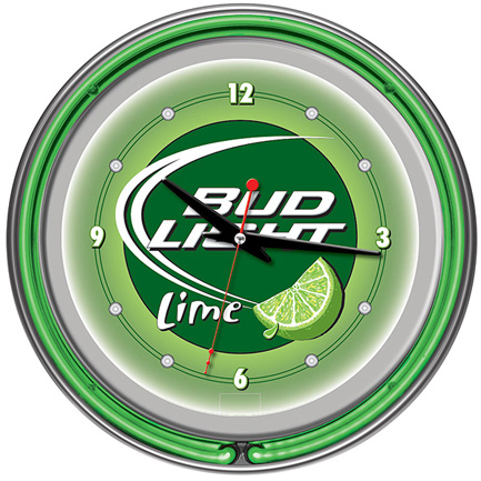Bud Light 14-inch Neon Wall Clock FREE SHIPPING - Lime Green