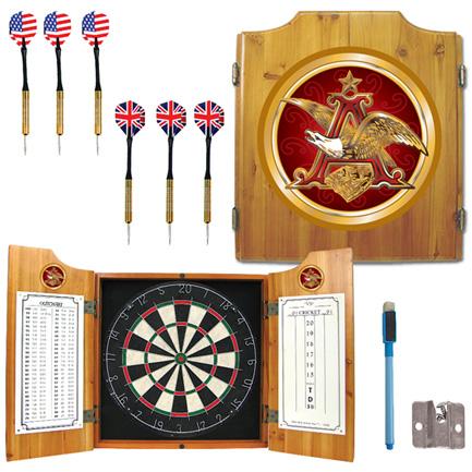 Budweiser Anheuser Busch Wood Dart Board Cabinet FREE SHIPPING
