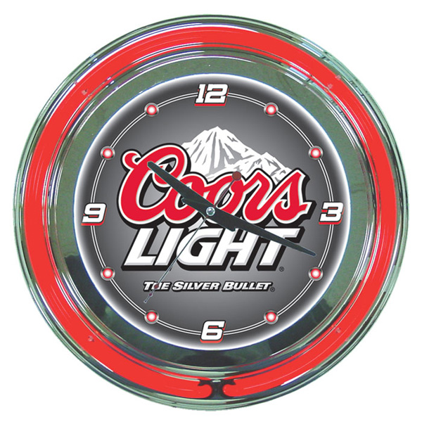 Coors Light Neon Wall Clock Free Shipping Red