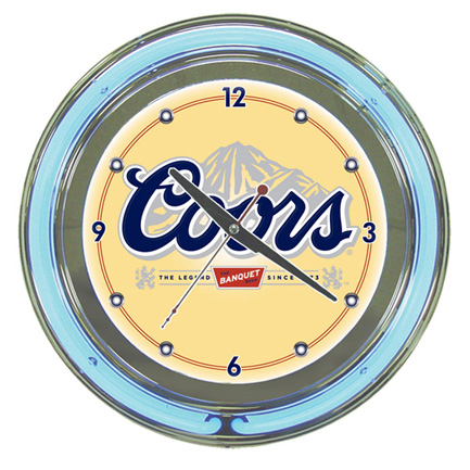 Coors Neon Wall Clock FREE SHIPPING - Banquet