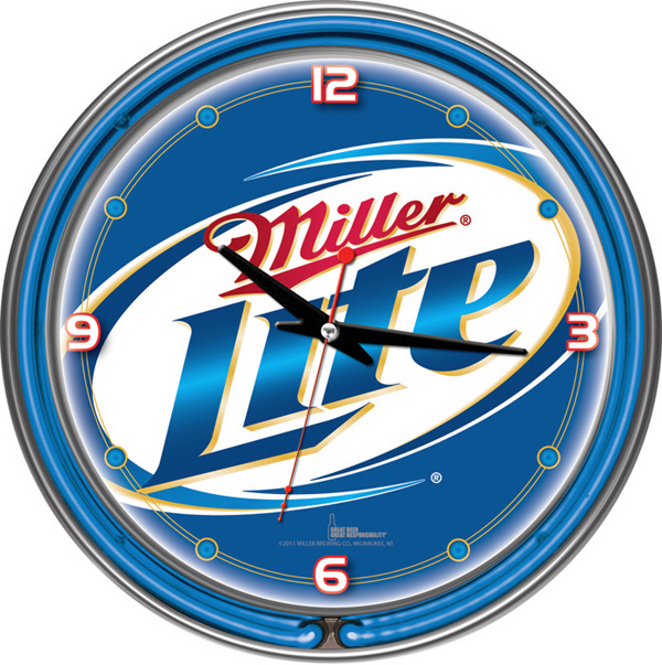 Miller Lite 14-inch Blue Neon Wall Clock FREE SHIPPING